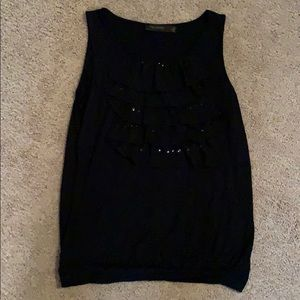 The Limited black top with sequins and ruffles